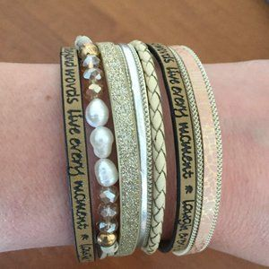 Inspirational Bogo Leather Cuff Bracelet